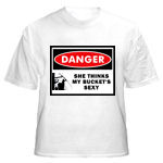 This t-shirt depicts a lineman in his bucket: She Thinks My Bucket's Sexy tee shirt for power linemen!